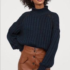 H&M Rib knit turtleneck sweater dark blue XL